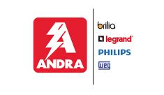 Logo Andra em vermelho, ao lado os logos das empresas brillia, legrand, philips e weg