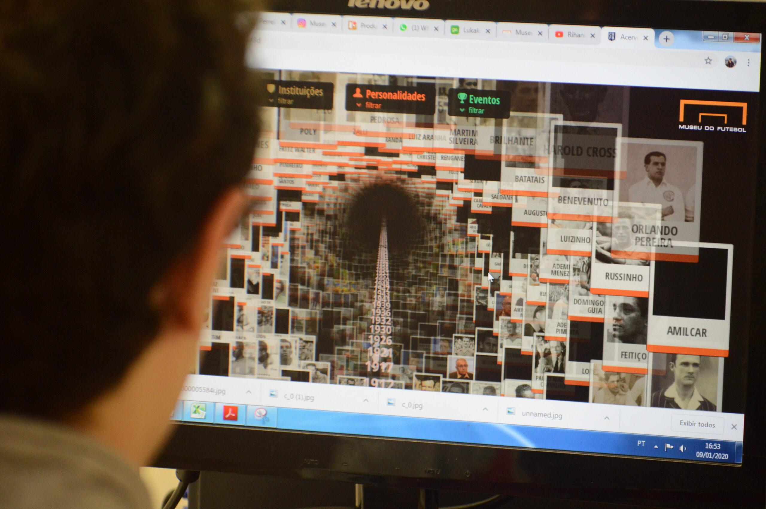 Tela de Computador mostrando a página do Centro de Referência do Futebol Brasileiro