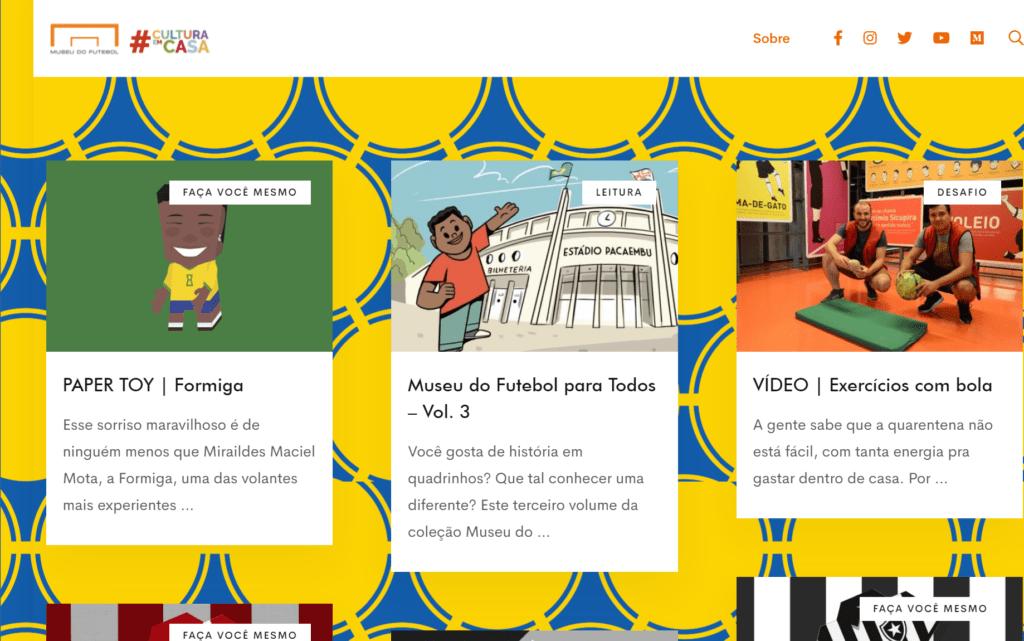 Página inicial de um site bastante colorido, com fundo amarelo e azul, e imagens de desenhos de jogos educativos.