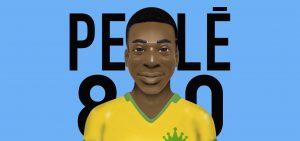 Pelé ilustrado como um jogador de pebolim, vestindo a camisa da Seleção Brasileira, sobre fundo azul claro e a frase Pelé 80.