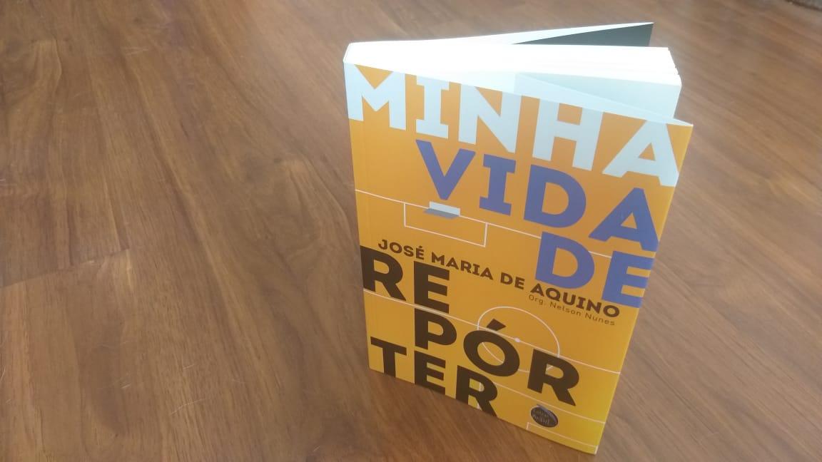 """Capa do livro 'Minha vida de repórter"""", com fundo amarelo e o título em letras grandes."""