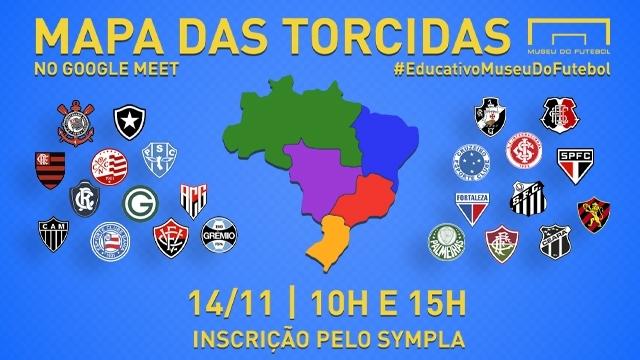 Ilustração mostrando um mapa do Brasil com as regiões coloridas e vários escudos de times. Mapa das torcidas. No Google Meet. 14/11, 10h e 15h. Inscrição pelo Sympla