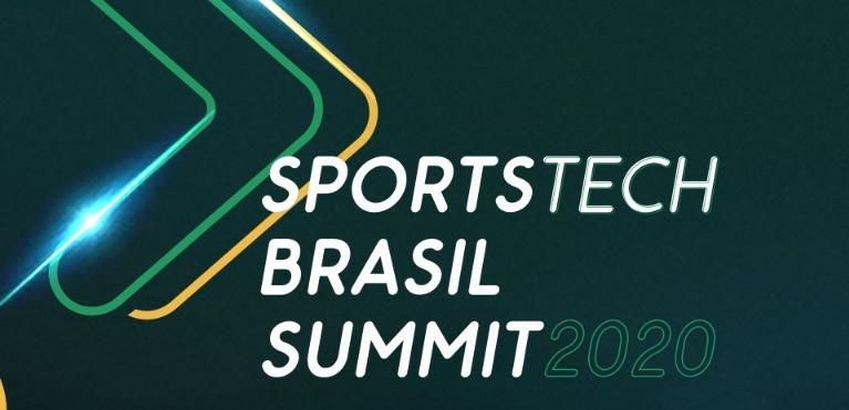 Ilustração em cor verde escuro com duas setas em verde e amarelo neon, com os dizeres Sportstech Brasil Summit 2020