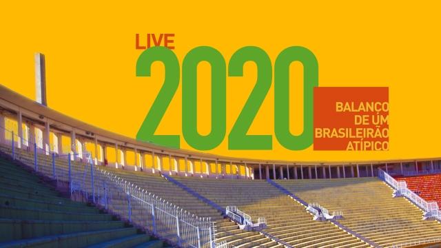Ilustração sobre a foto da arquibancada do Estádio do Pacaembu, com os dizeres 2020: balanço de um brasileirão atípico