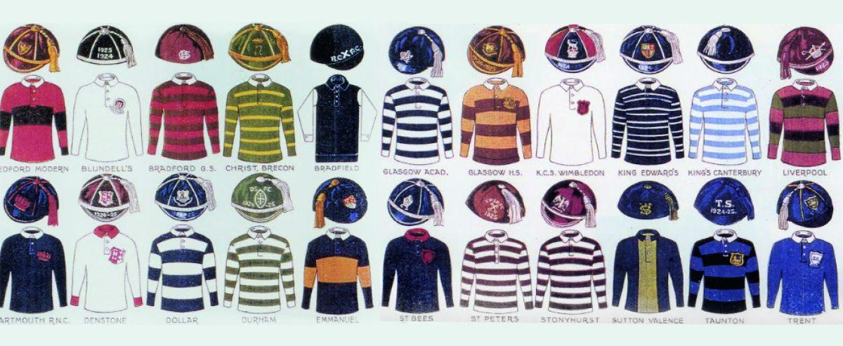 Desenhos de vários uniformes de clubes brasileiros, lado a lado, compondo um painel multicolorido.