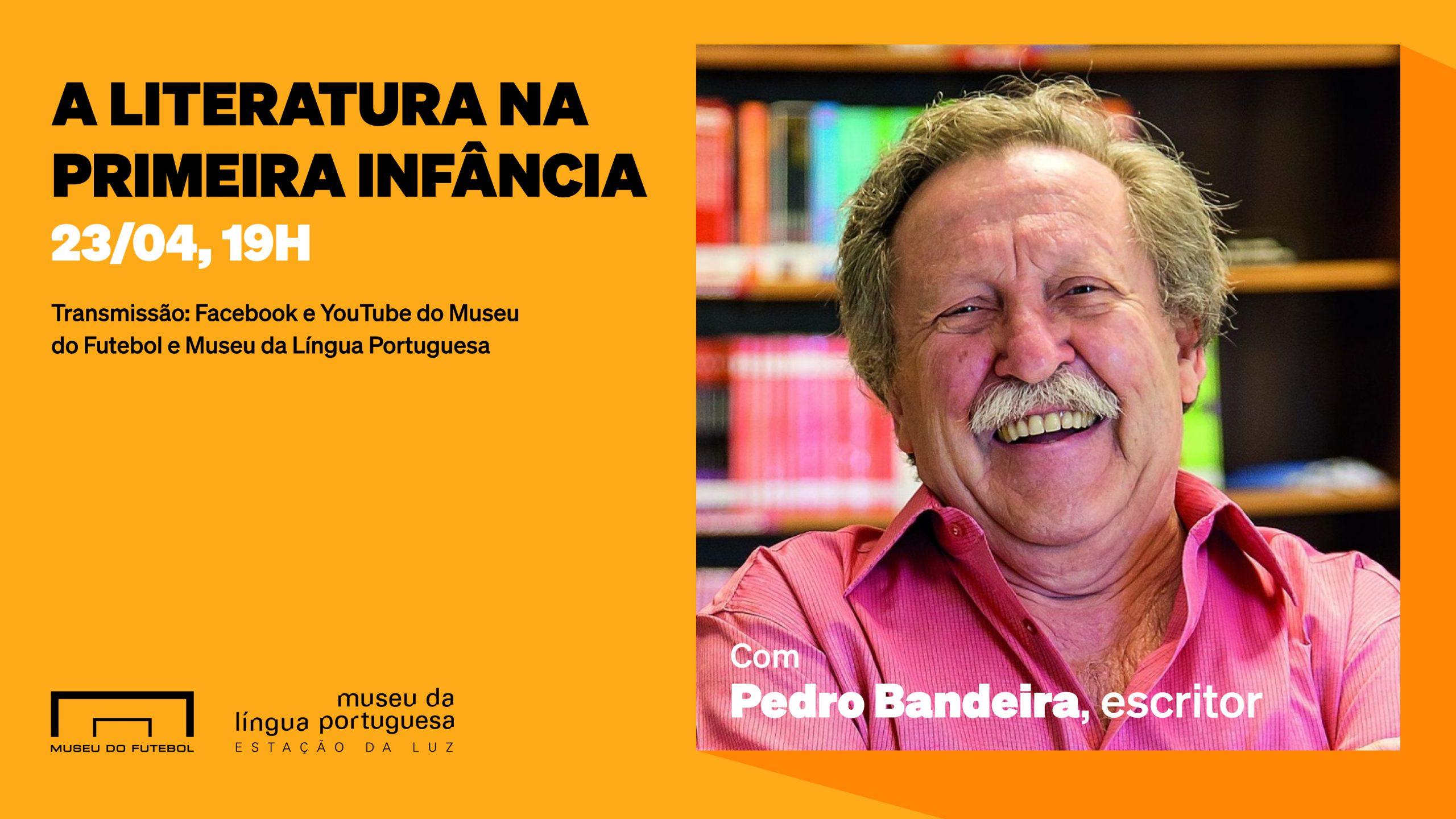 A literatura na primeira infância. Foto de Pedro Bandeira, um senhor sorridente de bigode, vestindo camisa rosa.