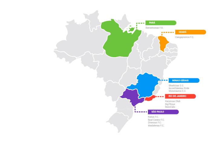 Mapa do Brasil com os estados de São Paulo, Rio de Janeiro, Minas Gerais, Ceará e Pará marcados em cores distintas, mostrando onde foram mapeados times LGBT.