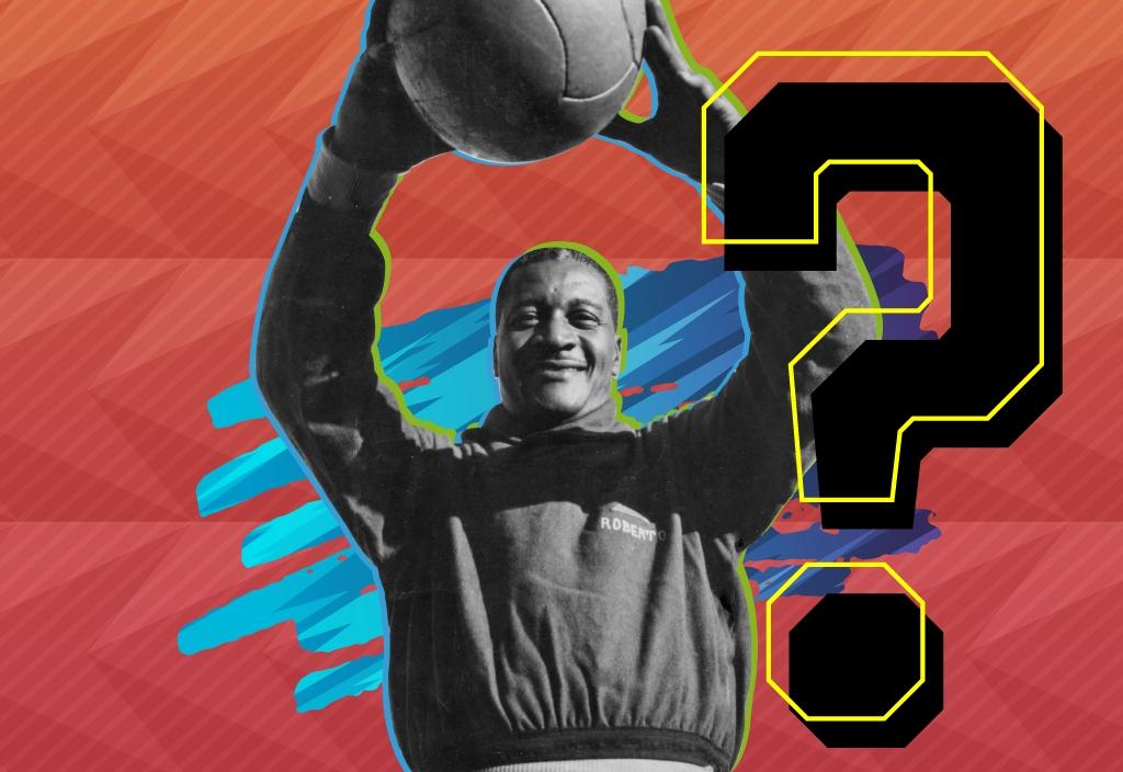 Ilustração sobre fotografia de Barbosa segurando a bola sobre a cabeça, com as duas mãos