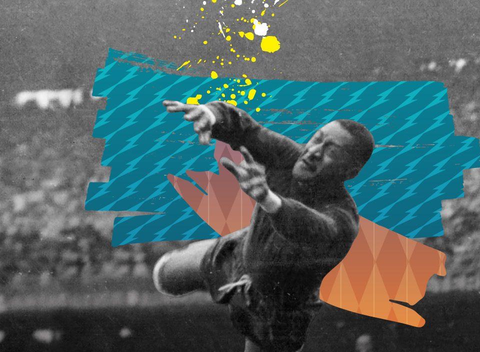 Sobre foto em preto e branco de Barbosa saltando para agarrar uma bola, há um grafismo em azul e laranja.
