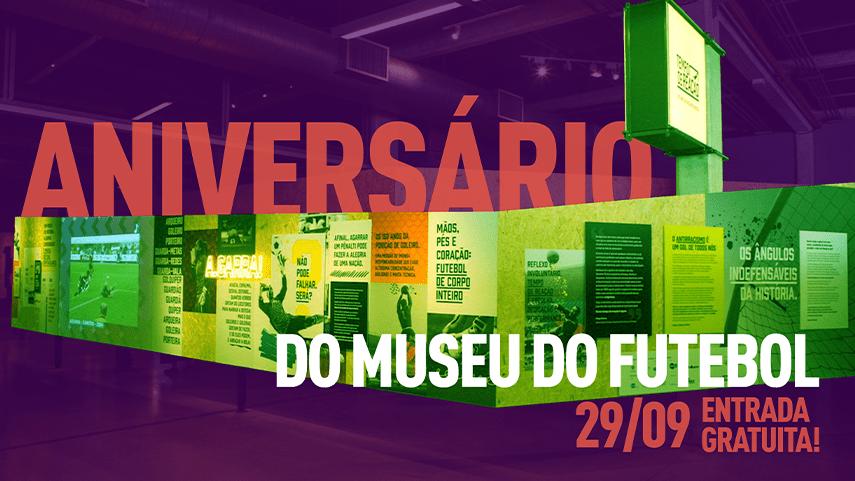 Ilustração com fundo roxo com os dizeres Aniversário do Museu do Futebol, 29/9, entrada gratuita!
